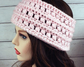Crocheted Light Pink Textured Ear Warmer Headband & Fingerless Gloves Set
