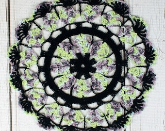 Crocheted Halloween Black Purple Green Blue Table Topper Doily - 10 3/4""