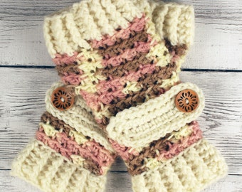Crocheted Neapolitan Cream Lt Brown Pink Gloves with Button Straps