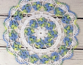 """Crocheted White Blue Green Variegated Table Topper Doily - 10 1/2"""""""
