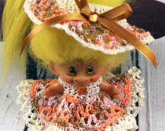 Crocheted Fall Outfit Clothes Dress for Vintage 2 1/2 - 3 inch Dam Troll Doll
