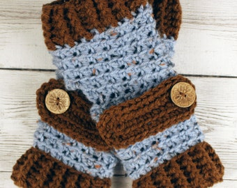 Crocheted Blue Fleck Dark Brown Fingerless Gloves with Button Straps
