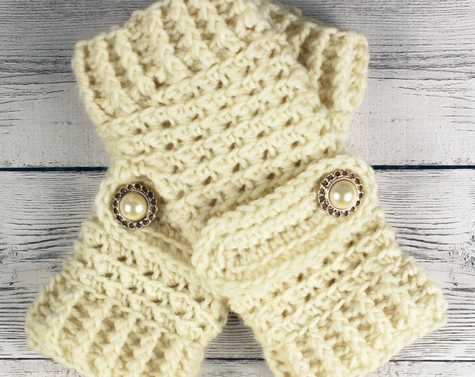 Crocheted Cream Fingerless Gloves with Button Straps