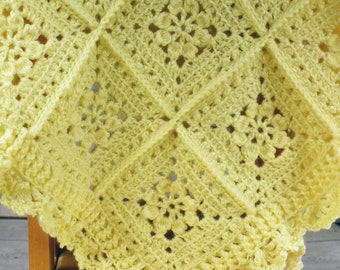 Beautifully Crocheted Yellow Baby Blanket Afghan