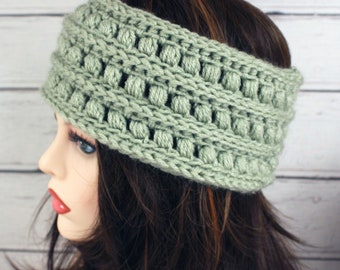 Crocheted Sage Green Textured Ear Warmer Headband & Fingerless Gloves Set