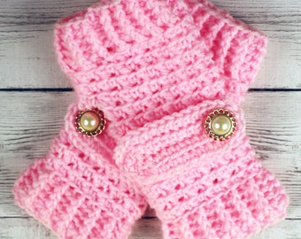 Crocheted Pink Fingerless Gloves with Button Straps