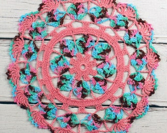 Crocheted Rose Pink Aqua Brown Green Variegated Table Topper Doily - 10 1/2""
