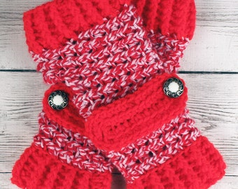 Crocheted Red White Variegated Gloves with Button Straps