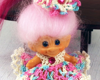 Crocheted Outfit Clothes Dress for Vintage 2 1/2 - 3 inch Dam Troll Doll