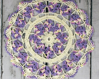 Crocheted Cream Violet Lavender Table Topper Doily - 10 1/2""