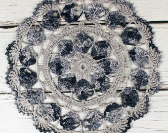 """Crocheted Shaded Grey Variegated Table Topper Doily - 10 1/2"""""""