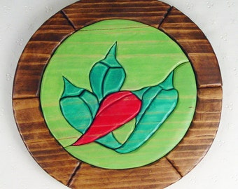 Handcrafted Wooden Intarsia Chili Peppers Wall Art Plaque