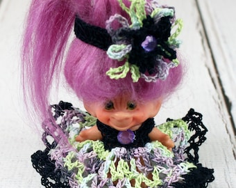 Crocheted Halloween Outfit Clothes Dress for Vintage 2 1/2 - 3 inch Dam Troll Doll