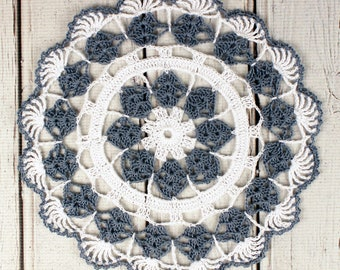 """Crocheted Country Blue White Table Topper Doily- 10 3/4"""""""