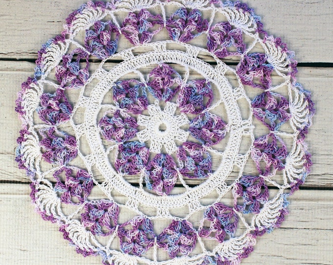 """Featured listing image: Crocheted White Lavender Blue Violet Variegated Table Topper Doily - 10 1/2"""""""