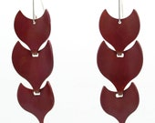 Red Pangolin Shell Copper and Silver narrow link earrings