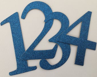 """4"""" Blue Glitter Chipboard Numbers, Wedding Table Numbers, Elegant Font, Birthday Decor: SAPPHIRE Shown"""