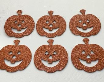 "6 Jack-o-Lantern - Pumpkin Glitter Chipboard Die Cuts - Halloween Pumpkins  - 2"" inches"
