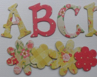 """COUNTRY FLORALS -  Chipboard Letters &  Flower Die Cuts  - 1.5"""" inch Tall"""