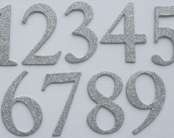 """2"""" inch  Silver Glitter Table  Numbers  - Glittered Card Stock - Double Sided: Glitter on Front and Back {0-12}"""