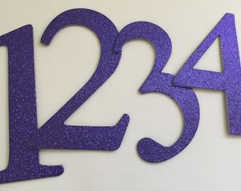 "4"" Glitter Purple Chipboard Numbers, Elegant Font - Wedding Table Numbers, Birthday Decor: EGGPLANT Shown"
