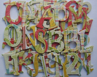"ANNA SOPHIA Designer Alphabets, Chipboard Letters, Floral & Plaid Alphabet Die Cuts, Scrapbook Diecuts, 1.5"" inch tall"