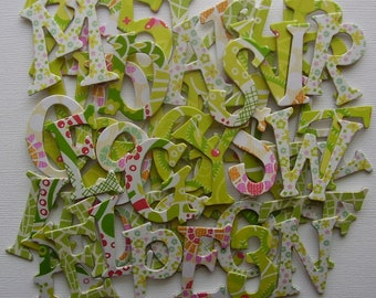 """SWEET PEA -  Pretty Greens /  Spring Florals - Chipboard Letters &  Flower Die Cuts  - 1.5"""" inch Tall"""