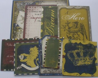CAMBRIDGE - Journal Cards - Chipboard Die Cuts - Masculine Pictures, Journaling Spots & Quote Embellishments - 10 Pieces