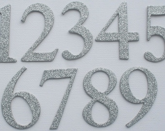 """2"""" inch  Silver Glitter Table  Numbers  - Glittered Card Stock - Double Sided: Glitter on Front and Back {1-12}"""