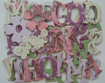 """OLIVIA Pastels - Chipboard Letters - Floral Alphabet Die Cuts  - 1.5"""" inch Tall"""