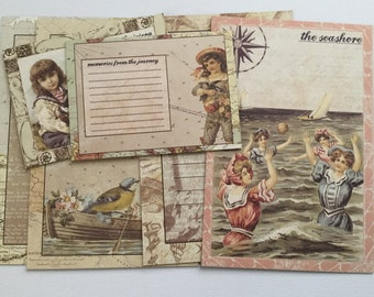 French Rivera - Vintage Journal Cards - Chipboard Die Cuts - Sea Shore Pictures, Journal Spots & Quote Embellishments - 8 Pieces
