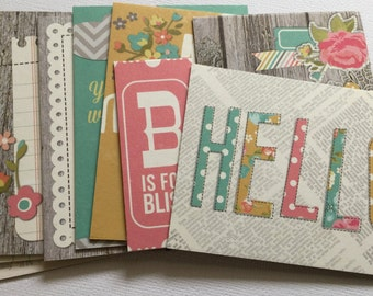 BLISSFUL EXPRESSIONS - Distressed Journal Cards - Chipboard Die Cuts - Picture Card Elements, Journal Spots & Embellishments - 12 Pieces