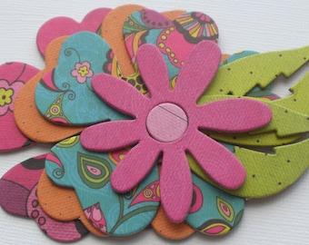 SUMMER BRIGHTS  Flower Chipboard Die Cuts - Wild Floral Embellishments - 12 Pieces