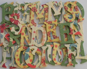 """COUNTRY CHIC -  Chipboard Letters &  Flower Die Cuts  - 1.5"""" inch Tall"""