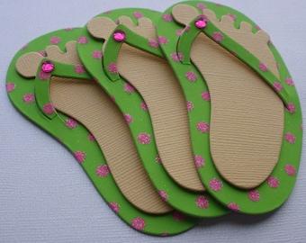 3 KiWi GLiTTER DOT Flip Flops and Feet - Summer - CHiPBOARD Embellished Die Cuts