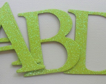 """GLiTTER LETTERS - 2"""" Elegant Chipboard Letter Die Cuts - Color Option .. Lime Green Shown"""