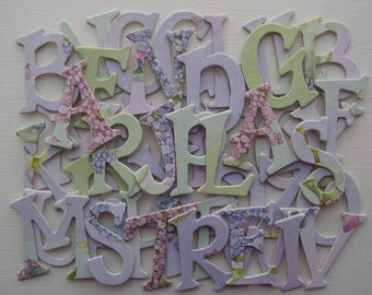 """LILAC Designer Alphabets, Chipboard Letters, Floral Alphabet Die Cuts, Scrapbook Diecuts, 1.5"""" inch {Choose Uppercase or Lowercase}"""