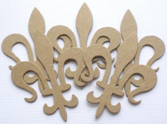 Unfinished Chipboard Die Cuts 6 *FLOURISH SCROLL* Decorative Accents 4 7//8