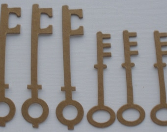 """8 SKELETON KEYS - Bare Chipboard Die Cut Key  Diecuts  - 4 of Each Style - 2 7/8"""" and 3 7/8"""" inch tall"""