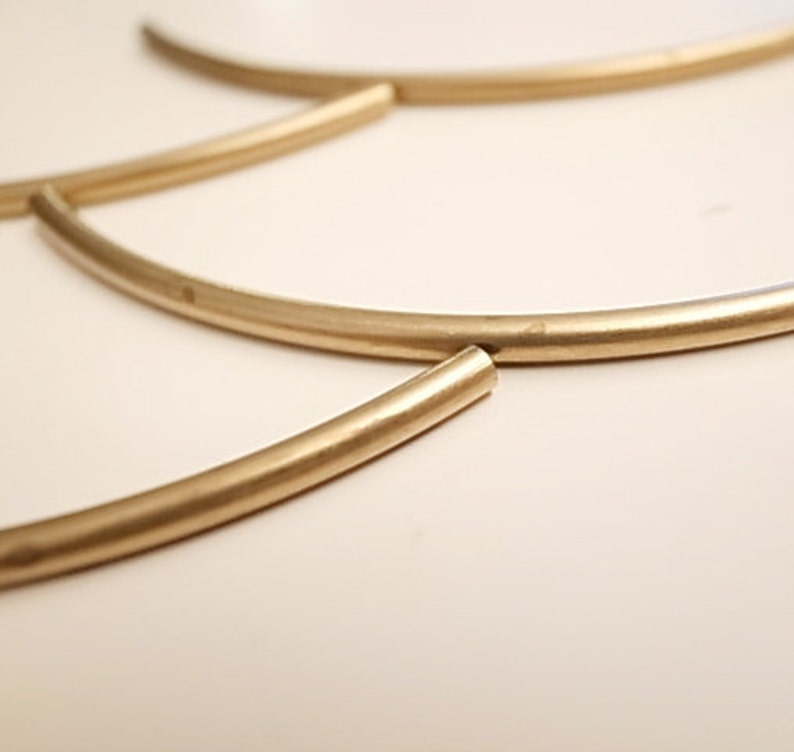 10 pieces of vintage cut raw brass long tube round shape curve bead cap 4x80 mm across