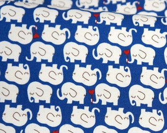 Elephant print  Dark Blue  background color Half meter 19.6 by 42 inches   nc51