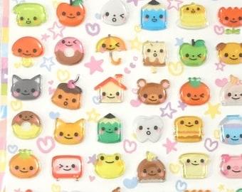 Kawai animals fruist and foods sticker