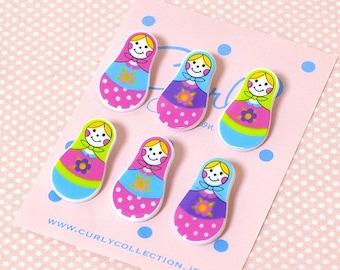 6 pcs Super cute Matryoshka russian Doll  Japanese sewing  Button