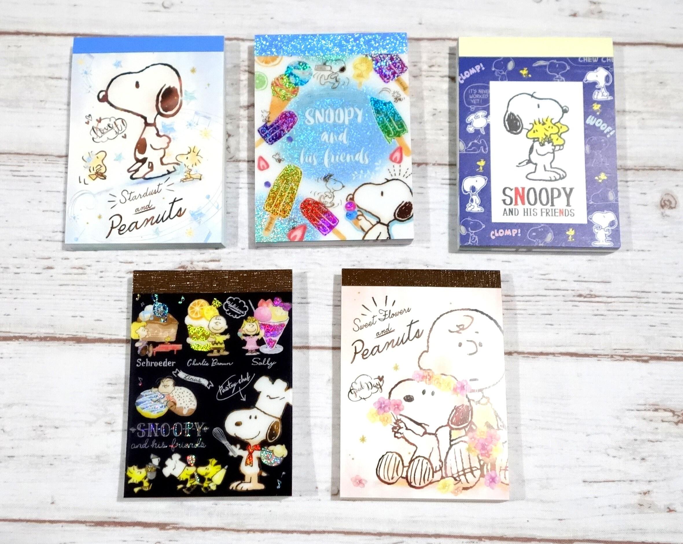 Kawaii Snoopy cacahuetes memo pad 5 diferentes diseño elegir | Etsy