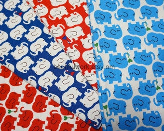 Elephant fabric scrap set of 4 pieces