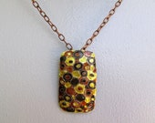 Gorgeous 1960s Copper w Metal Painted Inlay Pendant, Large MCM Design Brooch Pin or Pendant