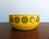 Fissler Asta Large 8 quot Yellow Enamel Bowl w Medallion Motif, 1960s Germany