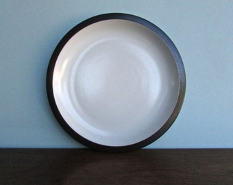 "11.5"" Edith Heath Pottery of California, Brown & White Rim Line, Large Dinner Plate , American Modern Design"