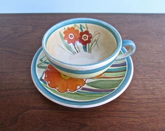 Art Nouveau 1930s Revival Low Fired Cup & Saucer Set, Curvy Blue Design w/ Orange Flowers, Signed and Dated 1937