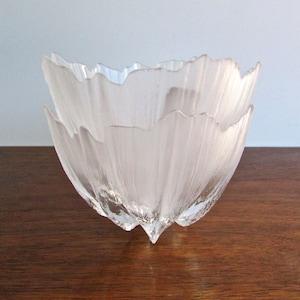 Handmade in Sweden Vintage Mats Jonasson Floral Bowl in Lead Crystal